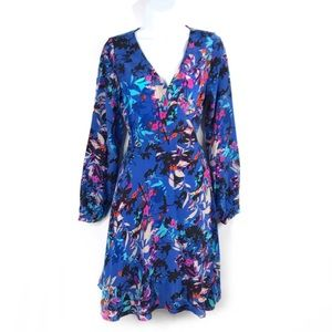 Yumi Kim Blue Floral Printed Wrap Dress 100%Silk